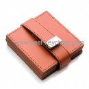 cheap promotion coaster leather gift