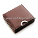custom pu leather box coaster promotion